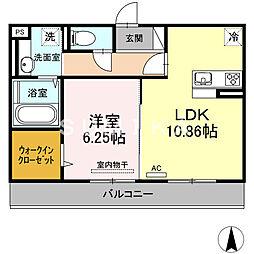 (仮)D-room横井上 2階1LDKの間取り
