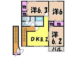 愛媛県松山市辻町の賃貸アパートの間取り