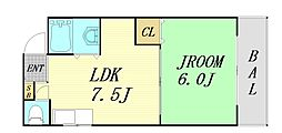 松本マンション 3階1LDKの間取り