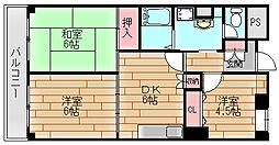 パティオ北加賀屋[2階]の間取り