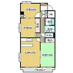 愛知県名古屋市中川区下之一色町字権野の賃貸マンションの間取り