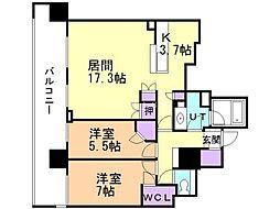 札幌市営南北線 さっぽろ駅 徒歩3分の賃貸マンション 7階2LDKの間取り