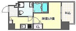 ファーストフィオーレ心斎橋イーストIII 7階1Kの間取り