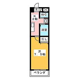 A-City中川法華 4階1Kの間取り