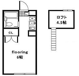 東京都世田谷区宇奈根3丁目の賃貸アパートの間取り