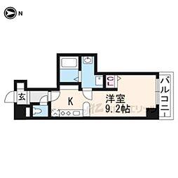 京都市営烏丸線 烏丸御池駅 徒歩7分の賃貸マンション 4階ワンルームの間取り