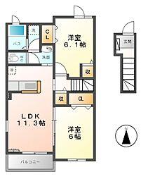 フロラシオンII[2階]の間取り