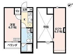 大阪府堺市堺区楠町4丁の賃貸アパートの間取り
