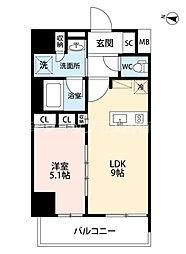 Dimus新大阪 2階1LDKの間取り