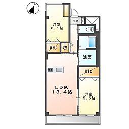 (仮称)友岡2丁目新築マンション 2階2LDKの間取り