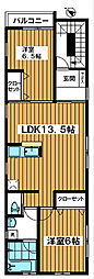 Placer 3階2LDKの間取り