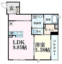 シャーメゾン六甲道 1階1LDKの間取り
