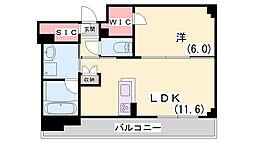 ワコーレザ・神戸トアロード 9階1LDKの間取り