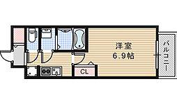 Osaka Metro御堂筋線 昭和町駅 徒歩13分の賃貸マンション 2階1Kの間取り