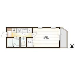 JR中央線 武蔵境駅 徒歩13分の賃貸アパート 2階1Kの間取り