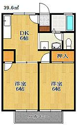 千葉県鎌ケ谷市東道野辺2丁目の賃貸アパートの間取り