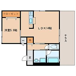 近鉄生駒線 南生駒駅 徒歩5分の賃貸アパート 1階1LDKの間取り