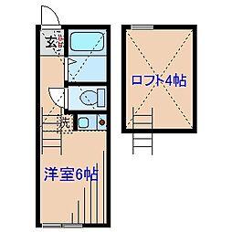 神奈川県横浜市緑区東本郷4丁目の賃貸アパートの間取り
