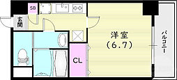 Luxe尼崎WEST 4階1Kの間取り