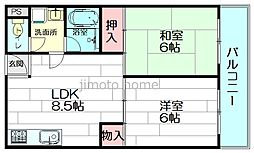 アパートメントナイン[2階]の間取り