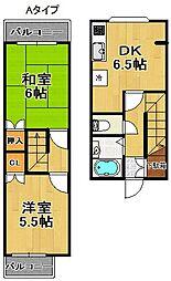 SKハイツ住之江[5階]の間取り