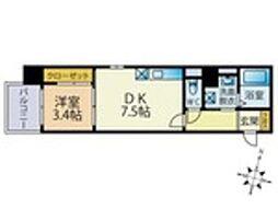 西鉄天神大牟田線 雑餉隈駅 徒歩4分の賃貸マンション 2階1DKの間取り