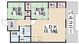 パルティ川西栄北団地B棟[813号室]の間取り
