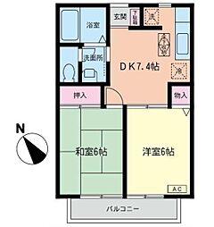 コーラルヒルズ東戸塚(コーラルヒルズヒガシトツカ)[2階]の間取り