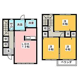 [テラスハウス] 岐阜県美濃加茂市西町5丁目 の賃貸【/】の間取り