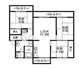 野間台住宅[718号室]の間取り