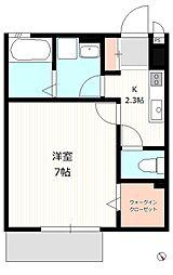 西武池袋線 清瀬駅 徒歩8分の賃貸アパート 1階1Kの間取り