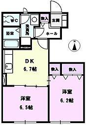 愛知県北名古屋市鹿田合田の賃貸アパートの間取り