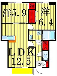 ブルックハマナカ[1階]の間取り