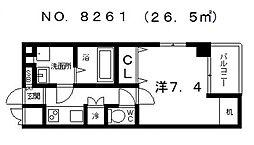 ボルシオン勝山[6階]の間取り