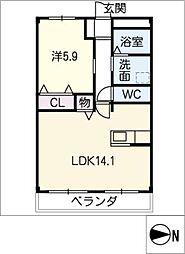 仮)北島マンション 2階1LDKの間取り