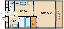 大阪府東大阪市本町の賃貸アパートの間取り