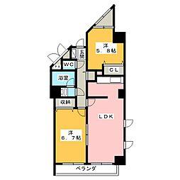 佐鳴湖パークタウンサウス[9階]の間取り