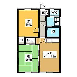 カーサ・クリスタル21[2階]の間取り