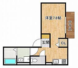 JR東海道・山陽本線 摂津本山駅 徒歩5分の賃貸アパート 1階ワンルームの間取り