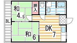 コーポタナカ[203号室]の間取り