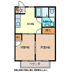 長野県上高井郡小布施町大字小布施の賃貸アパートの間取り