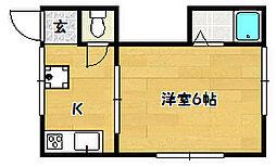 兵庫県神戸市兵庫区熊野町3丁目の賃貸アパートの間取り