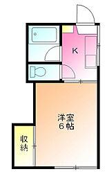 東京都町田市能ヶ谷2丁目の賃貸アパートの間取り