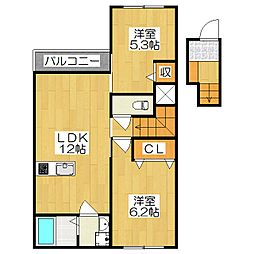仮)槇島町千足賃貸アパート[2階]の間取り