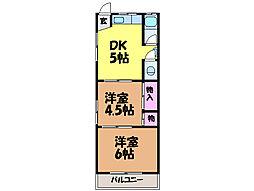 愛媛県松山市樽味4丁目の賃貸アパートの間取り