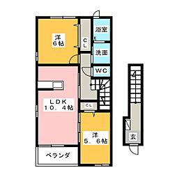 静岡県藤枝市仮宿の賃貸アパートの間取り