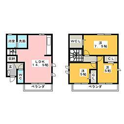 (仮)D-room平和(II)001[2階]の間取り