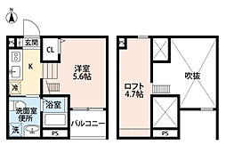 名古屋市営名城線 堀田駅 徒歩10分の賃貸アパート 2階ワンルームの間取り