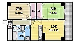大阪府東大阪市長堂3丁目の賃貸マンションの間取り