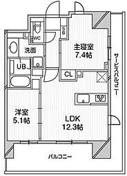 都営浅草線 高輪台駅 徒歩5分の賃貸マンション 5階2LDKの間取り